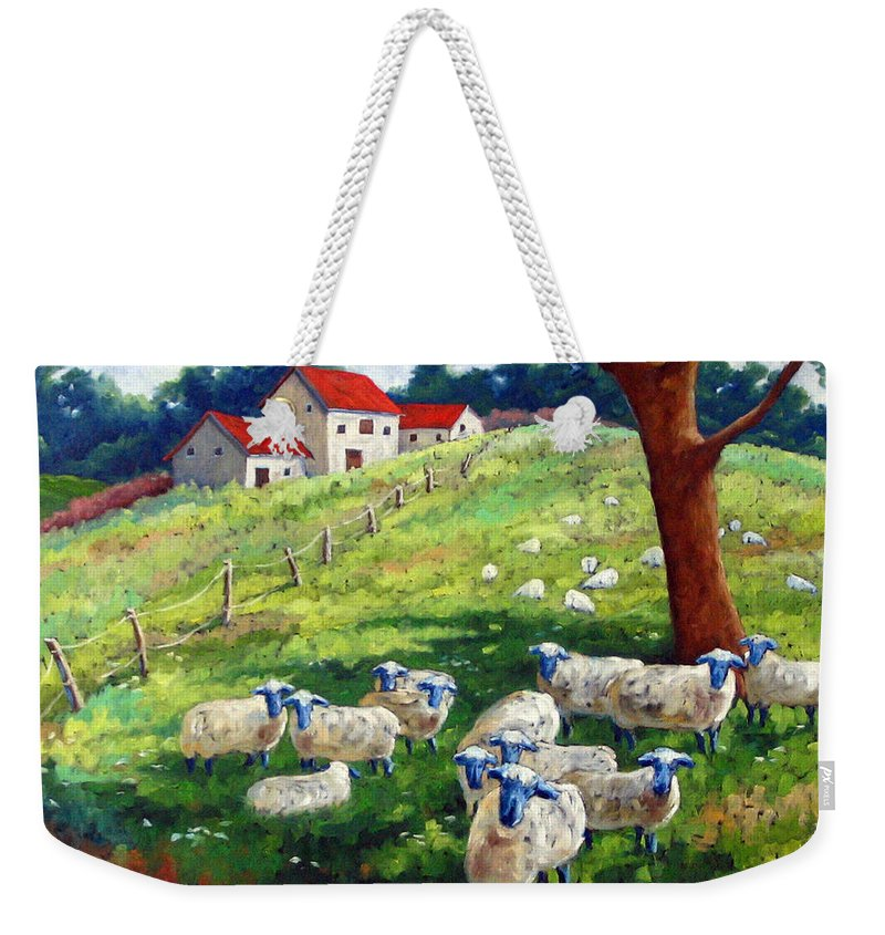 Sheep Weekender Tote Bag featuring the painting Sheeps In A Field by Richard T Pranke