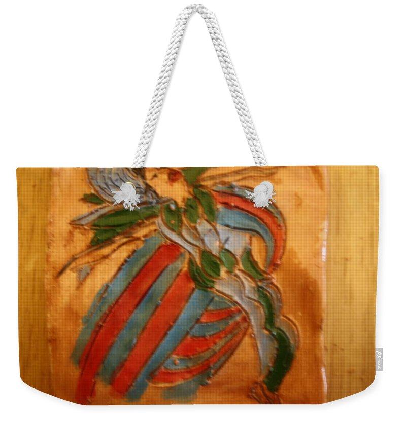Jesus Weekender Tote Bag featuring the ceramic art Sheer Bliss - Tile by Gloria Ssali