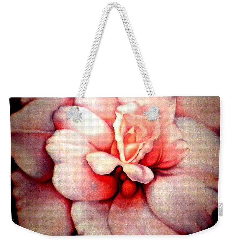 Blooms.large Rose Weekender Tote Bag featuring the painting Sheer Bliss by Jordana Sands