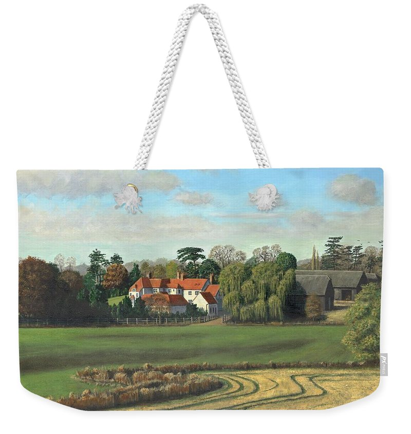 Landscape Weekender Tote Bag featuring the painting Sheering Hall Near Harlow Essex by Richard Harpum