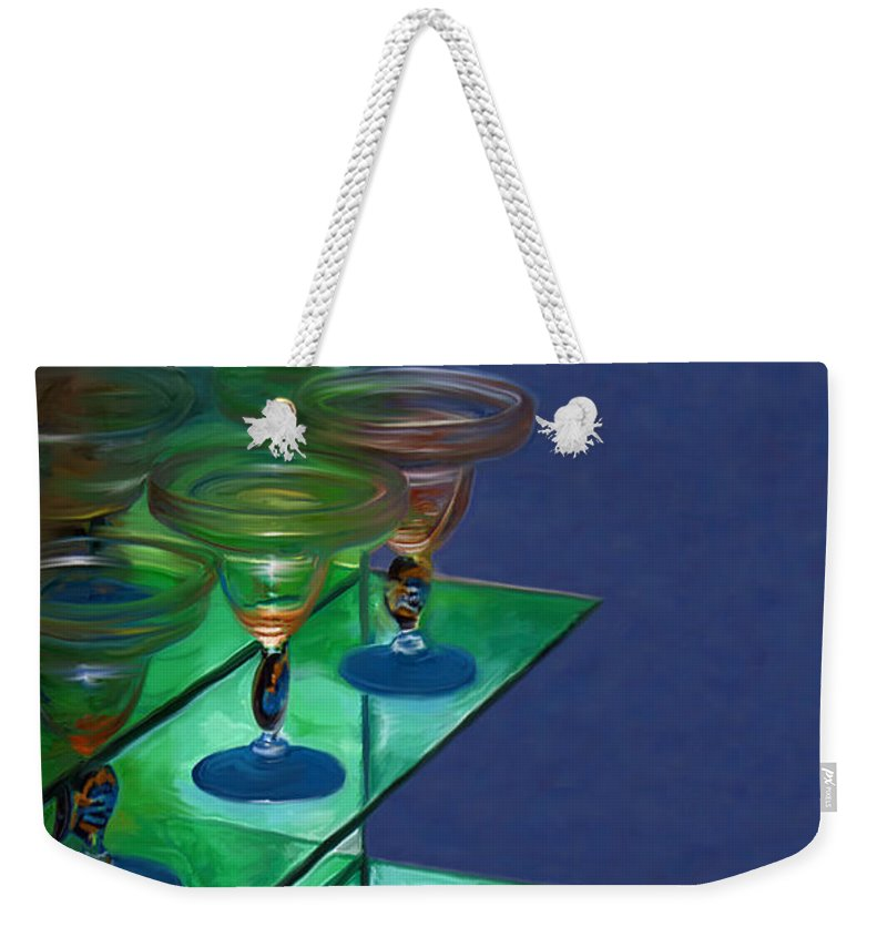 Still Life Weekender Tote Bag featuring the digital art Sheilas Margaritas by Holly Ethan
