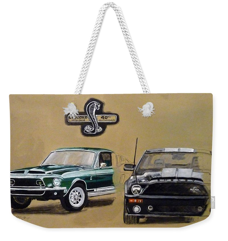 Cars Weekender Tote Bag featuring the painting Shelby 40th Anniversary by Richard Le Page
