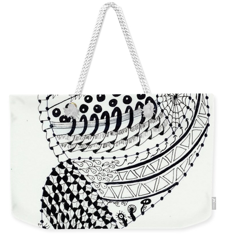 Zentangle Weekender Tote Bag featuring the drawing Shelby by Bev Donohoe