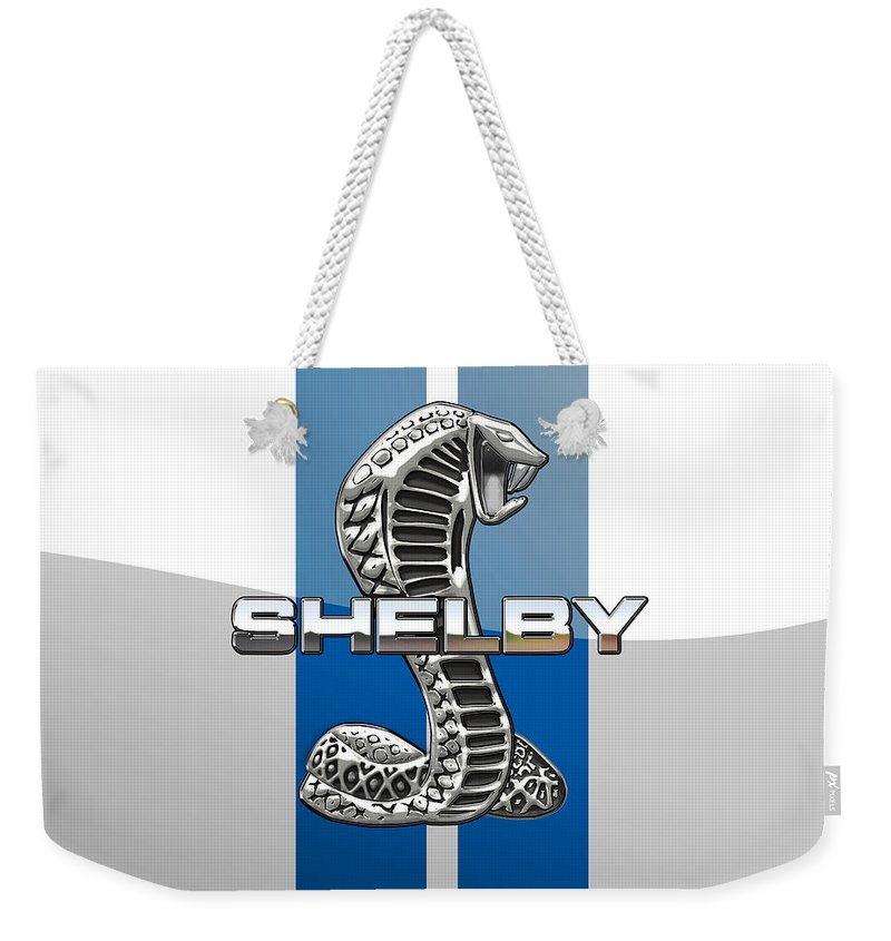 'auto Badges' Collection By Serge Averbukh Weekender Tote Bag featuring the photograph Shelby Cobra - 3D Badge by Serge Averbukh