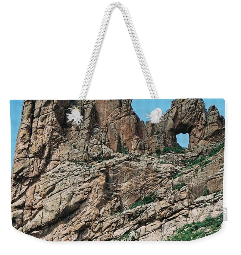Shelf Road Weekender Tote Bag featuring the photograph Shelf Road Rock Formations by Anita Burgermeister