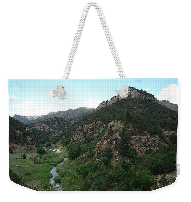 Shelf Road Weekender Tote Bag featuring the photograph Shelf Road Vista by Anita Burgermeister