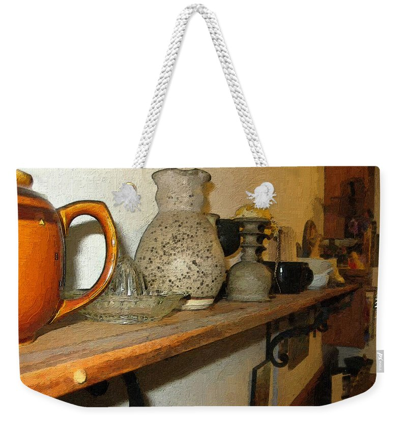 Bibelots Weekender Tote Bag featuring the digital art Shelf With Things Treasured by RC DeWinter