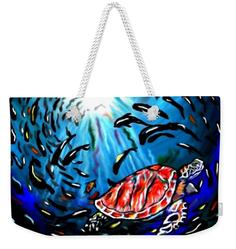 Turtle Weekender Tote Bag featuring the painting Shell Game by Herbert Renard