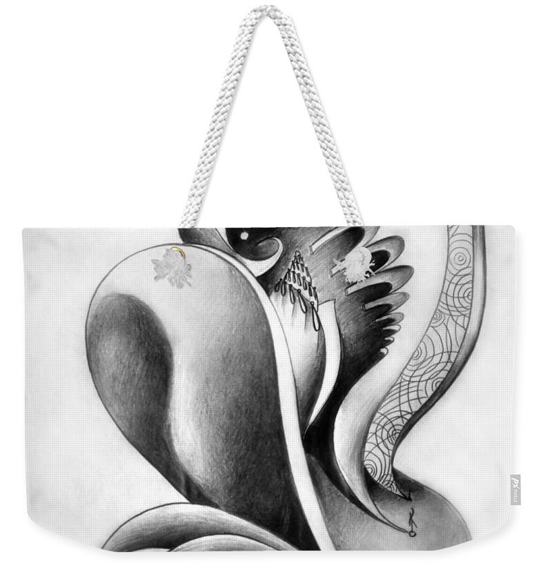 Absurd Weekender Tote Bag featuring the drawing Shell-shaped Buiding From The Land Of Absurd by Sofia Metal Queen