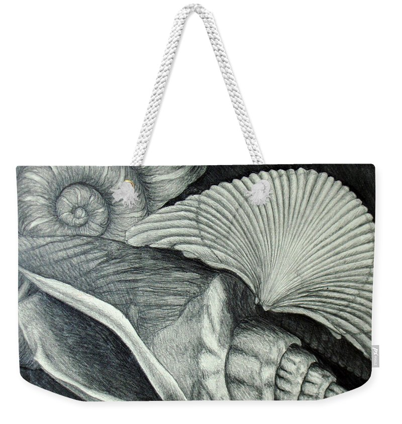 Shells Weekender Tote Bag featuring the drawing Shells by Nancy Mueller