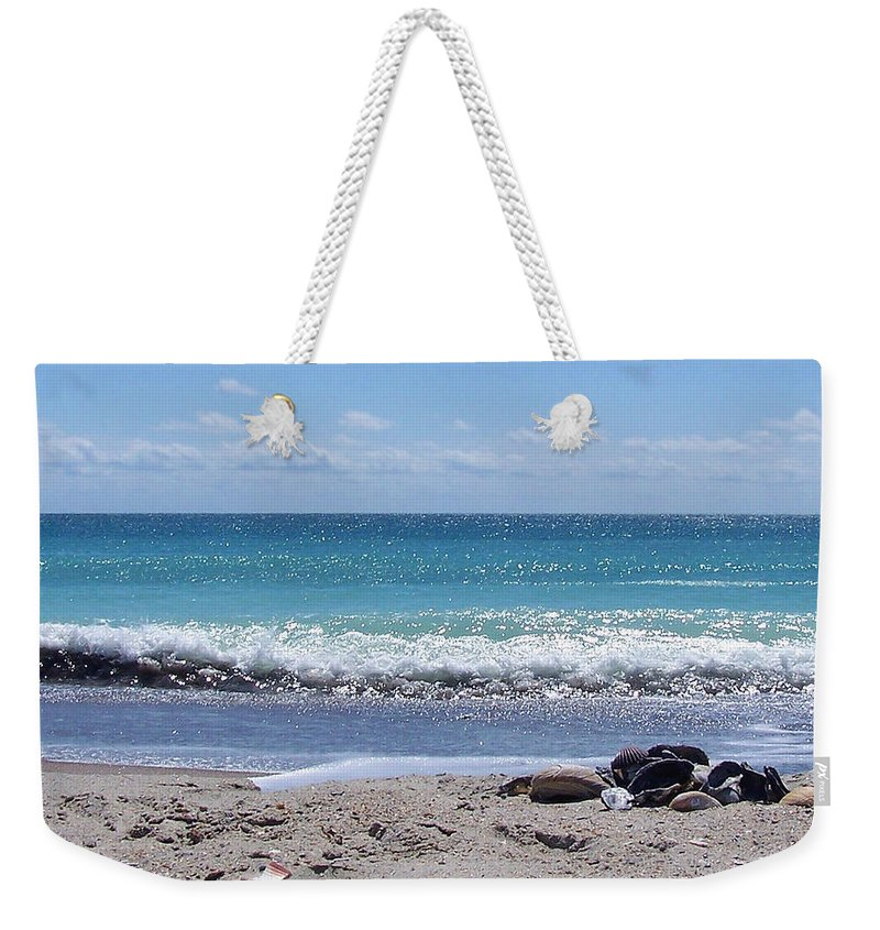 Beach Weekender Tote Bag featuring the photograph Shells On The Beach by Sandi OReilly