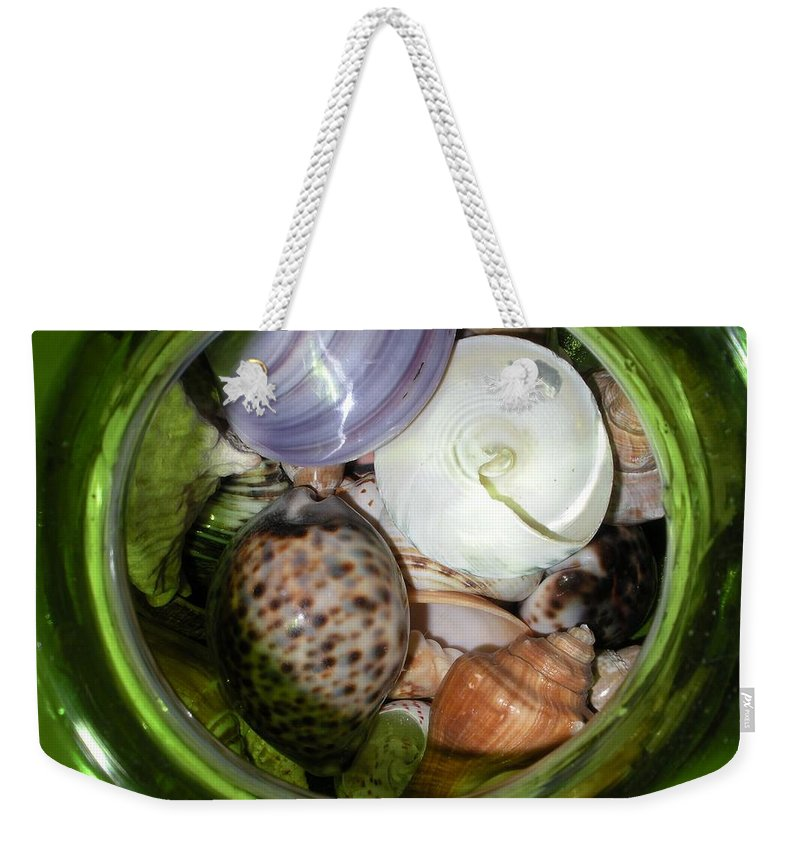 Sealife Weekender Tote Bag featuring the photograph Shells Under Glass II by Maria Bonnier-Perez