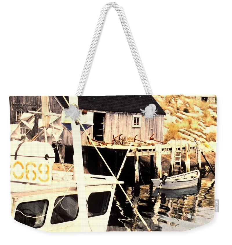 Peggys Cove Weekender Tote Bag featuring the photograph Sheltered Port by Ian MacDonald