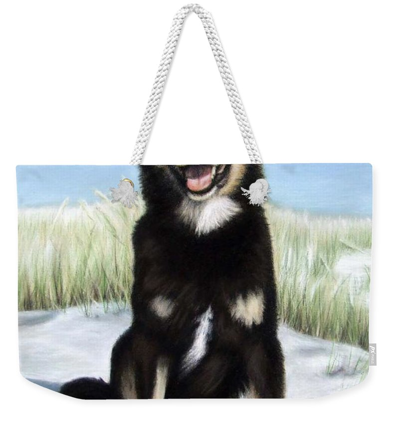 Dog Weekender Tote Bag featuring the pastel Shepherd Mix Timmy by Nicole Zeug