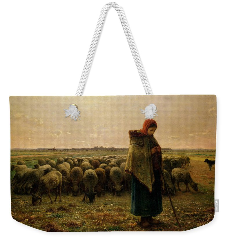 Shepherdess Weekender Tote Bag featuring the painting Shepherdess With Her Flock by Jean Francois Millet