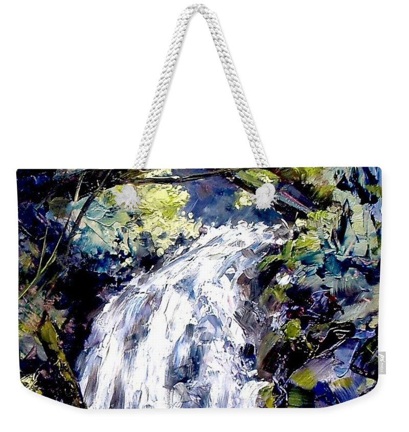 Landscape Weekender Tote Bag featuring the painting Shepherds Dell Falls Coumbia Gorge Or by Jim Gola