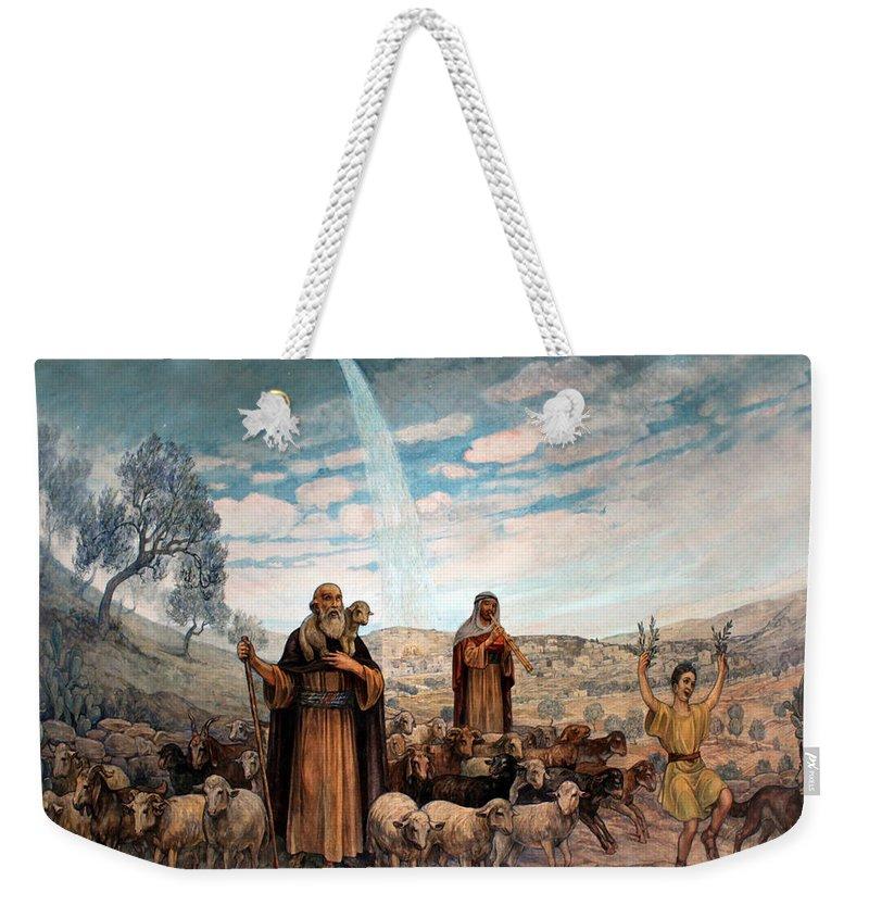 Photo Weekender Tote Bag featuring the painting Shepherds Field Painting by Munir Alawi