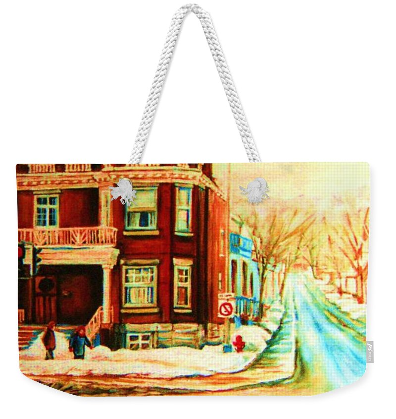 Montreal Weekender Tote Bag featuring the painting Sherbrooke In Winter by Carole Spandau