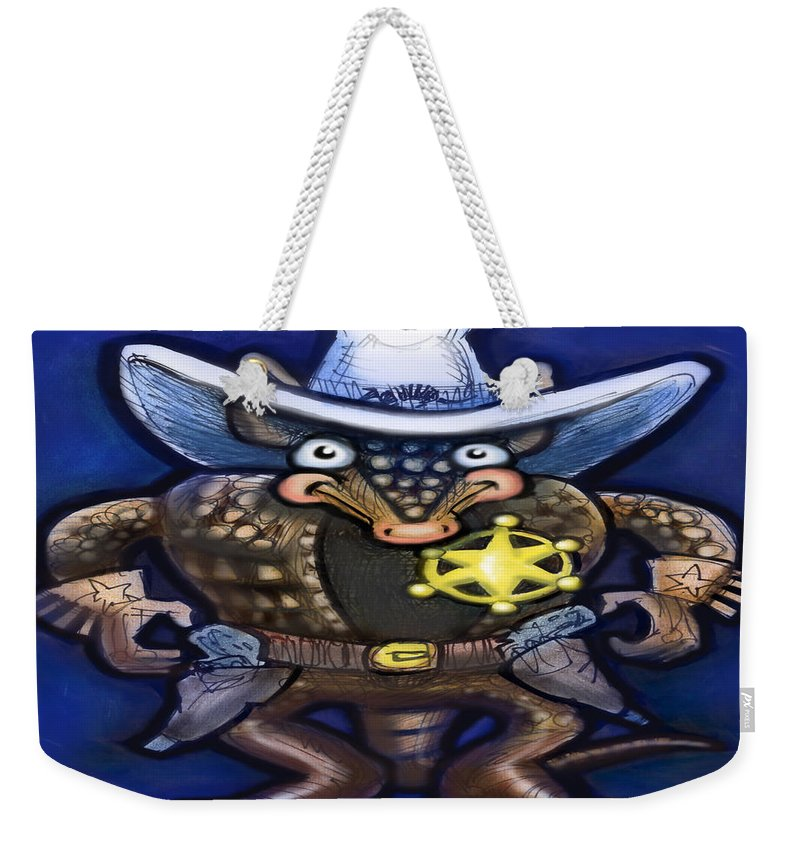 Sheriff Weekender Tote Bag featuring the digital art Sheriff Dillo by Kevin Middleton