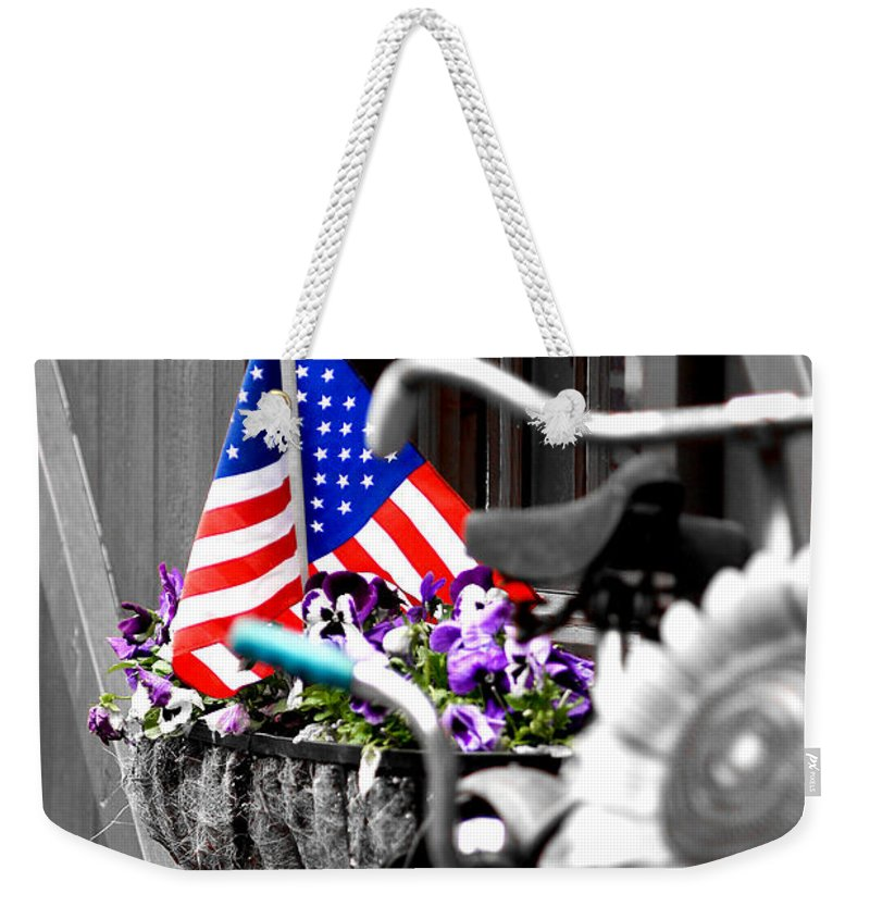 Flag Weekender Tote Bag featuring the photograph She's A Grand Old Flag by Greg Fortier
