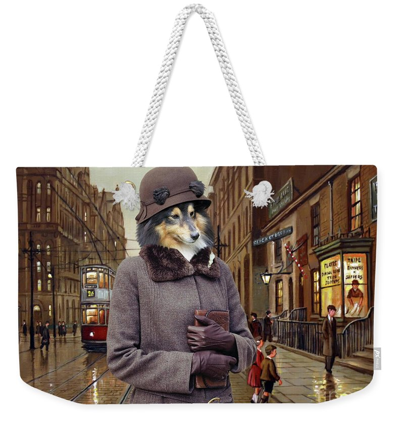 Sheltie Weekender Tote Bag featuring the painting Shetland Sheepdog Art Canvas Print - Charleston Blue by Sandra Sij