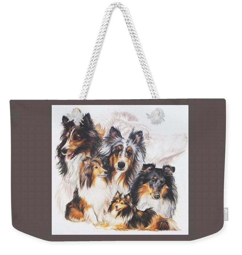 Herding Group Weekender Tote Bag featuring the mixed media Shetland Sheepdog Grouping by Barbara Keith