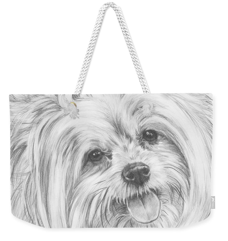 Designer Dog Weekender Tote Bag featuring the drawing Shi-chi by Barbara Keith