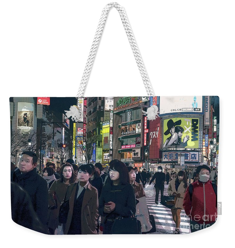 Shibuya Weekender Tote Bag featuring the photograph Shibuya Crossing, Tokyo Japan Poster 2 by Perry Rodriguez