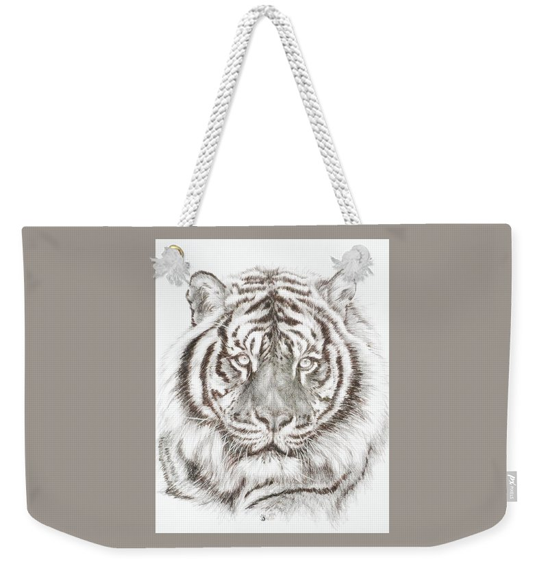 Big Cat Weekender Tote Bag featuring the drawing Shimmer by Barbara Keith