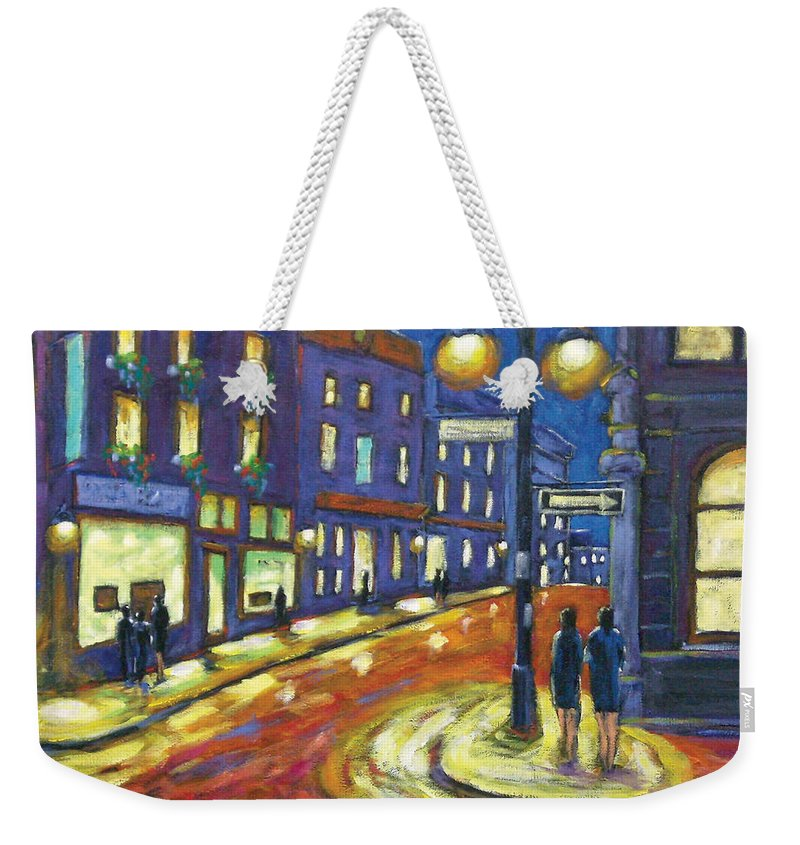 Night Weekender Tote Bag featuring the painting Shimmering Night by Richard T Pranke