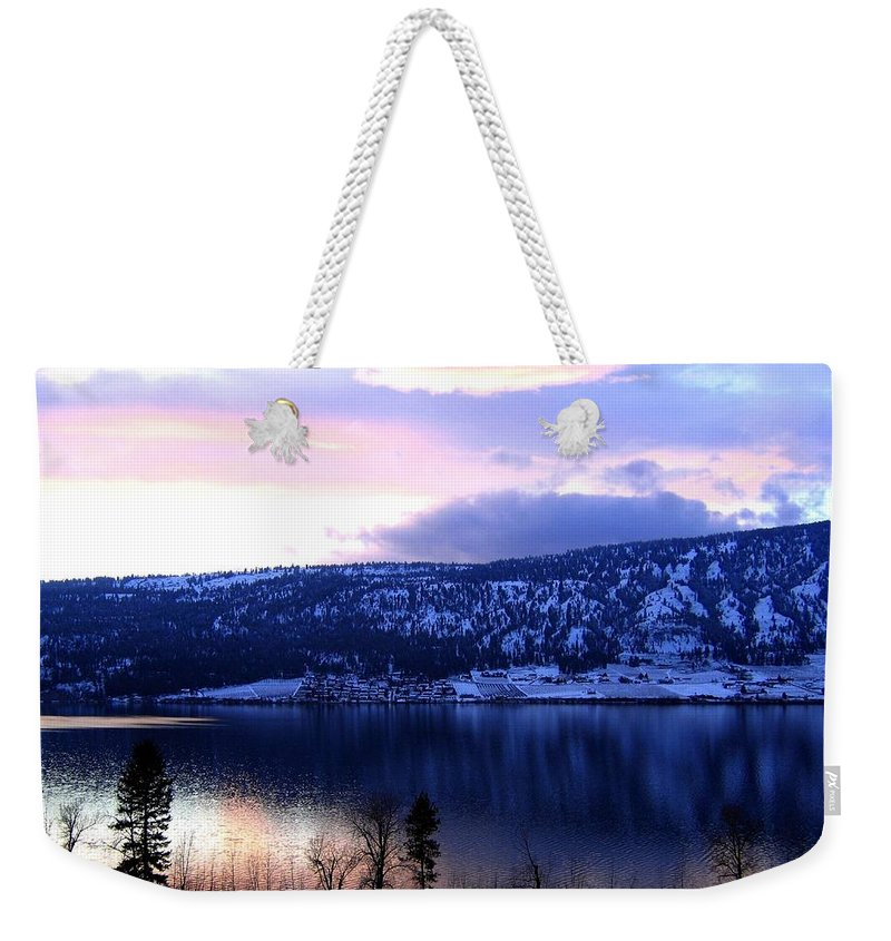 Sunset Weekender Tote Bag featuring the photograph Shimmering Wood Lake by Will Borden