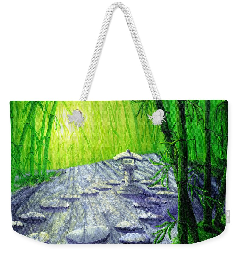 Zen Weekender Tote Bag featuring the painting Shinto Lantern In Bamboo Forest by Laura Iverson