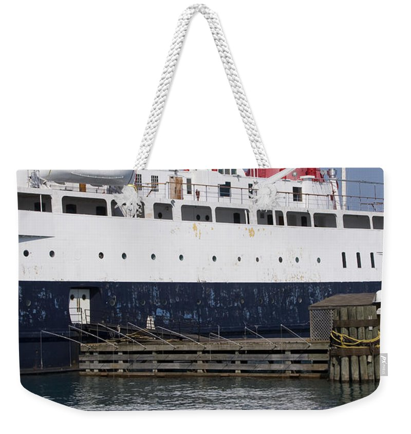 Chicago Windy City Ship Boat Lake Michigan Water Wave Reflection Sky Blue White Red Weekender Tote Bag featuring the photograph Ship by Andrei Shliakhau