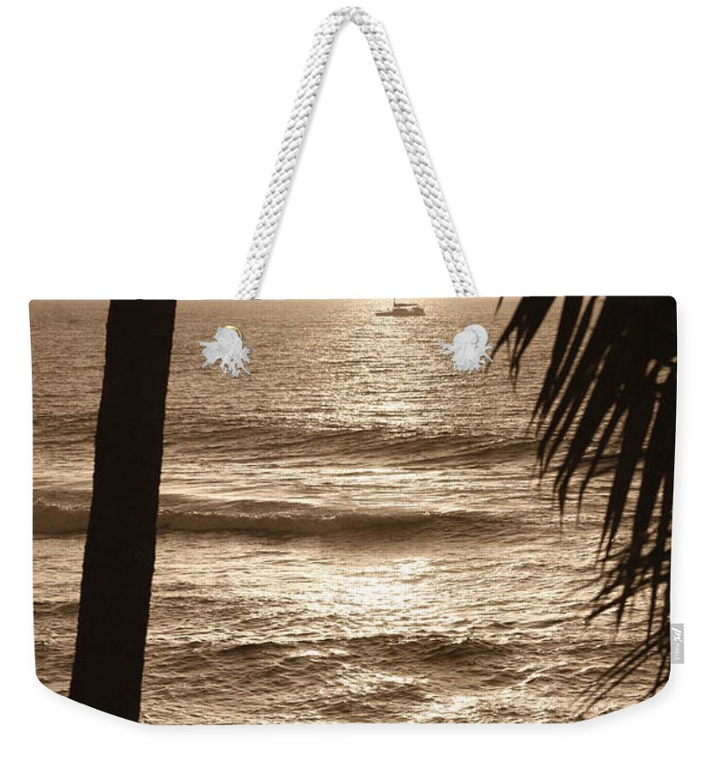 Hawaii Weekender Tote Bag featuring the photograph Ship In Sunset by Marilyn Hunt