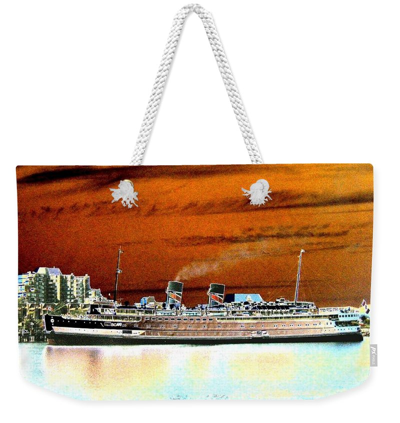 Ship Weekender Tote Bag featuring the digital art Shipshape 2 by Will Borden