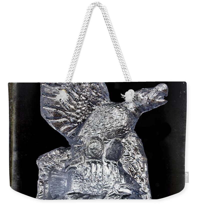 Eagle Weekender Tote Bag featuring the photograph Shipshewana Ice Festival Eagle by David Arment
