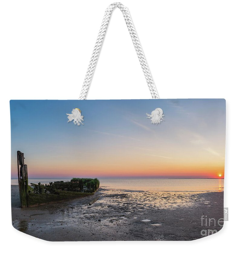 Shipwreck Sunset Weekender Tote Bag featuring the photograph Shipwreck Panorama by Michael Ver Sprill