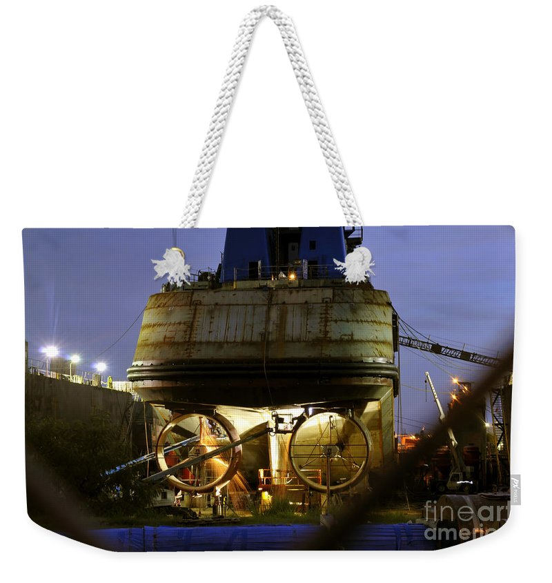 Shipyard Weekender Tote Bag featuring the photograph Shipyard Work by David Lee Thompson