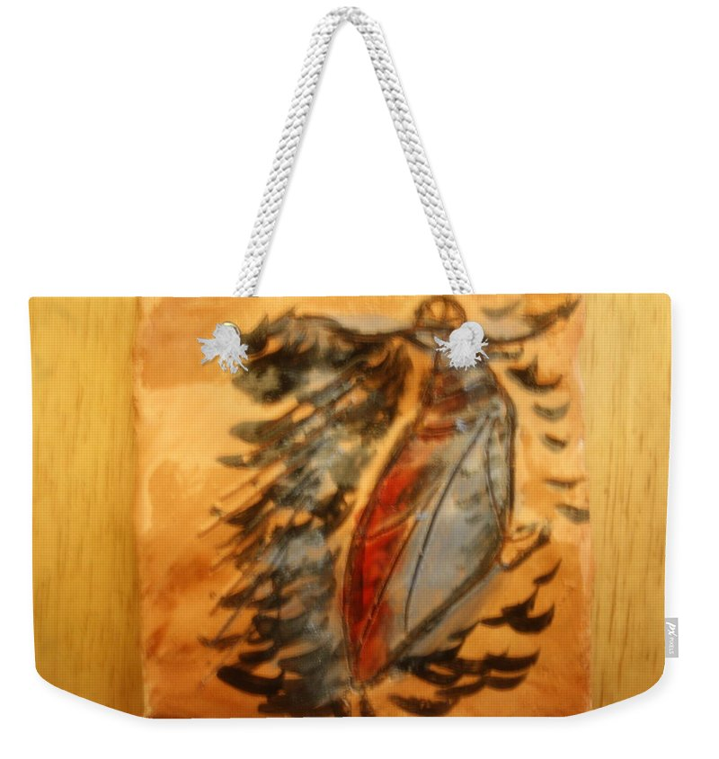 Jesus Weekender Tote Bag featuring the ceramic art Shivers Of Delight - Tile by Gloria Ssali