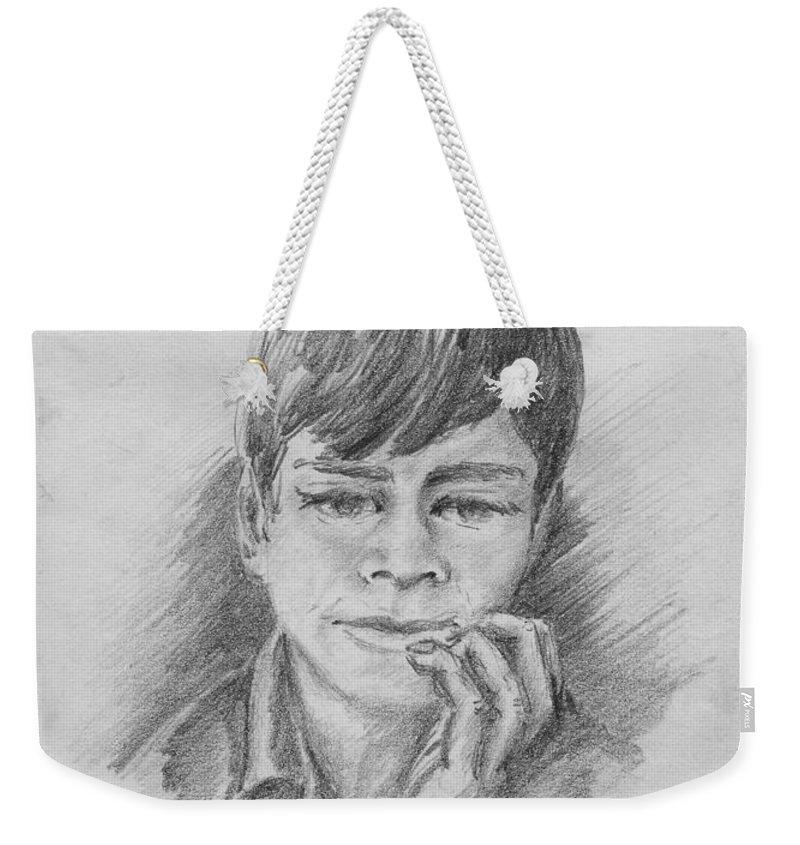 Anthony Van Dyk Weekender Tote Bag featuring the drawing Shoe Shine Boy - Malen Gadajara by Anthony Vandyk