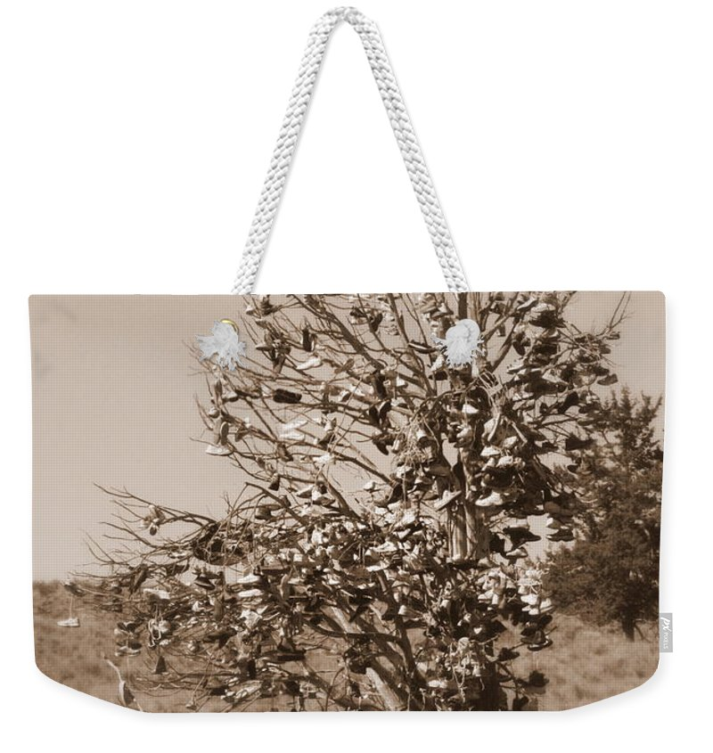 Sepia Weekender Tote Bag featuring the photograph Shoe Tree In Sepia by Carol Groenen