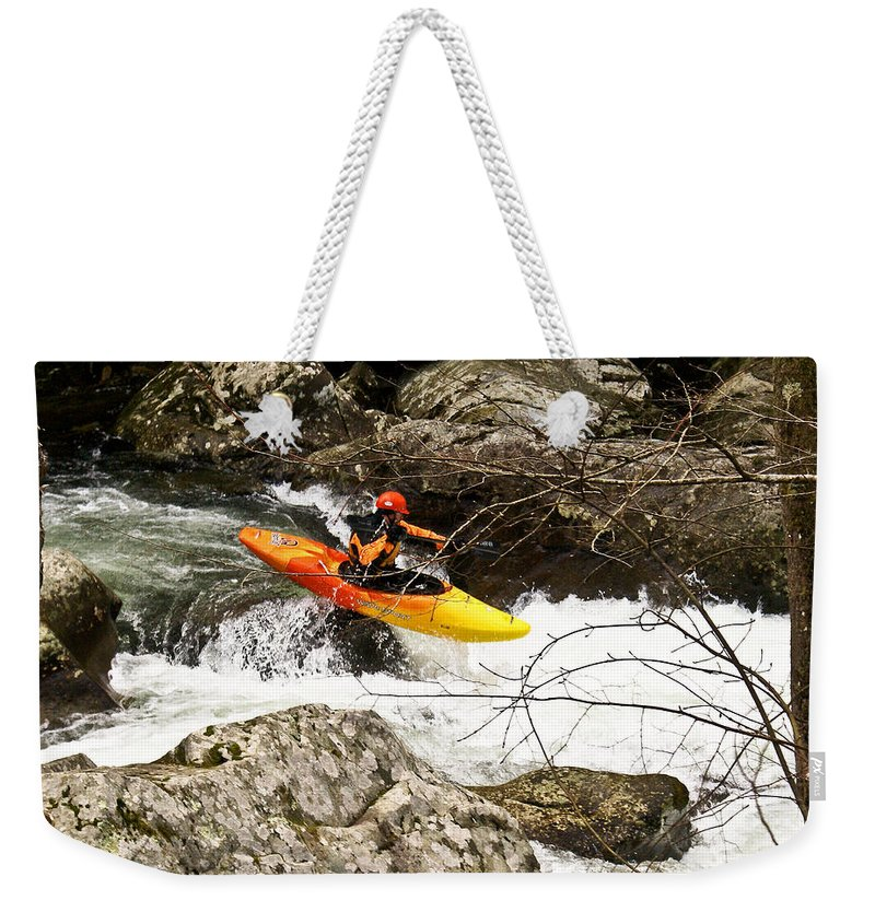 Rapids Weekender Tote Bag featuring the photograph Shooting The Rapids by Douglas Barnett