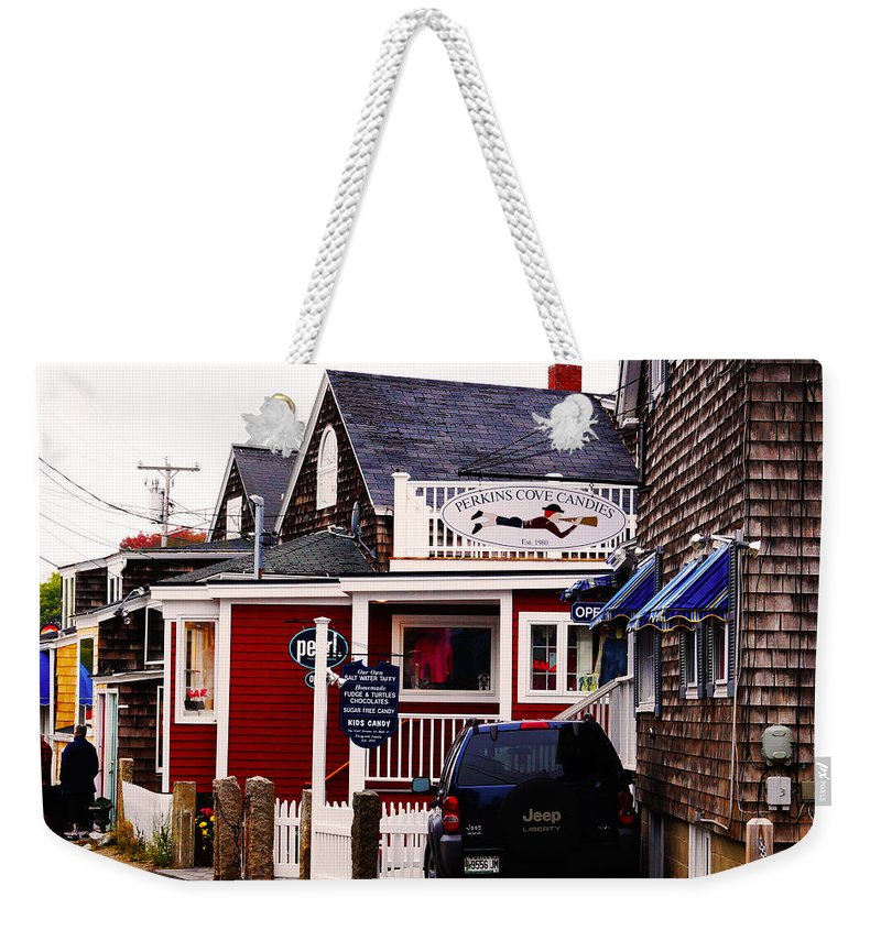 Perkins Cove Weekender Tote Bag featuring the photograph Shopping In Perkins Cove Maine by Craig David Morrison