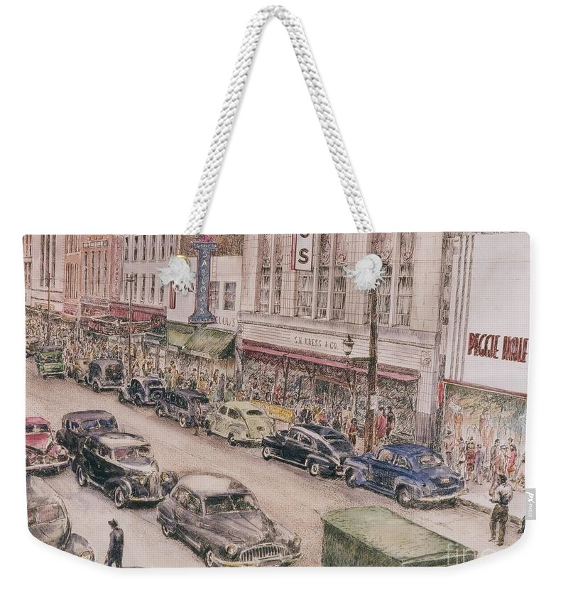 Print Greensboro History Weekender Tote Bag featuring the painting Shopping On Elm St. 1949 by Maggie Clark