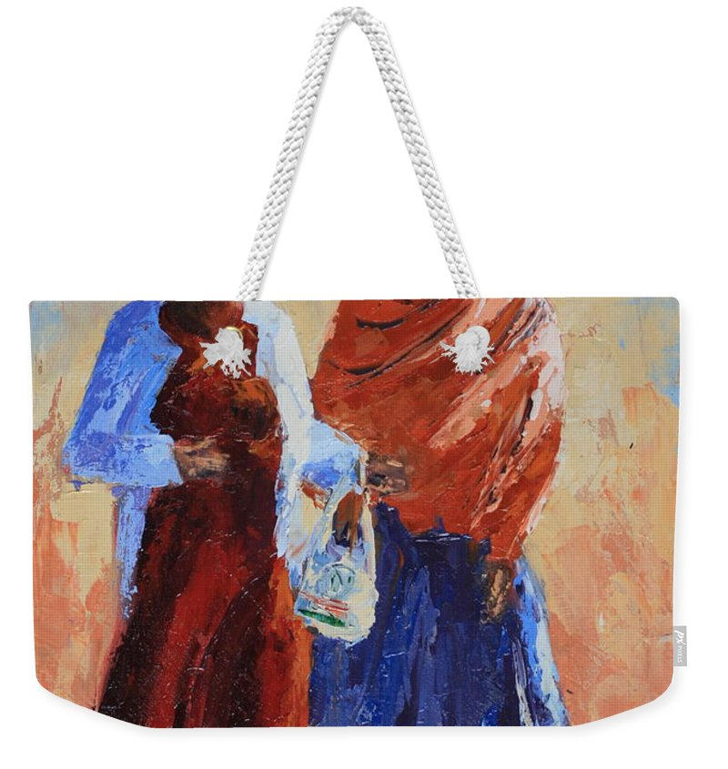 Figures Weekender Tote Bag featuring the painting Shopping by Yvonne Ankerman