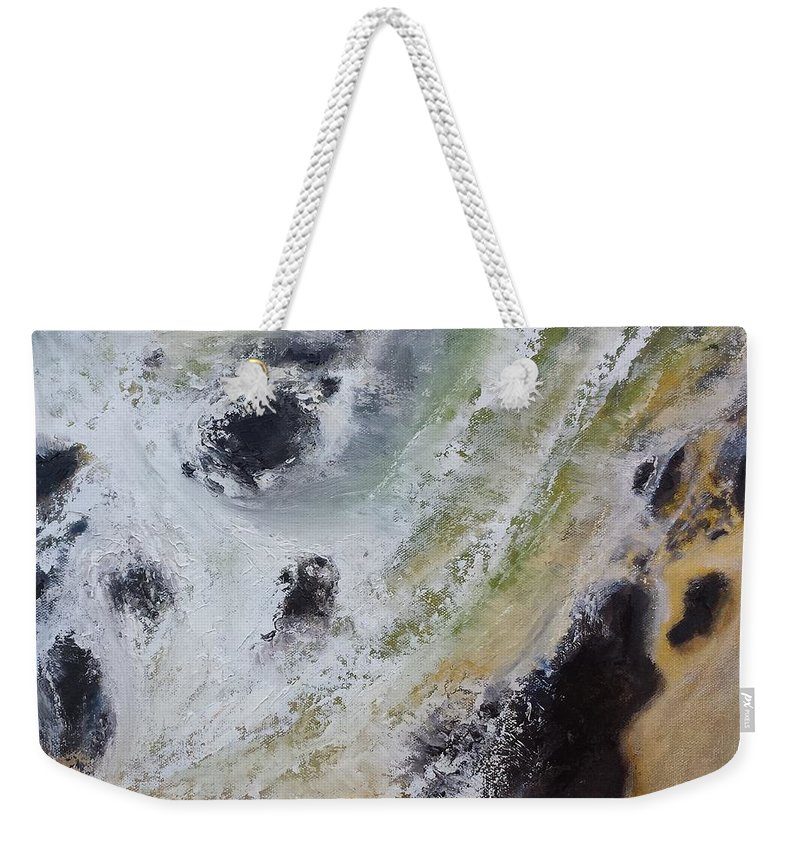 Rocks Weekender Tote Bag featuring the painting Shore Action 2 by Susan Hanna
