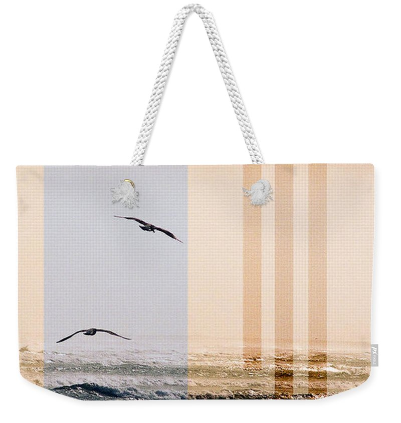 Abstract Weekender Tote Bag featuring the photograph Shore Collage by Steve Karol