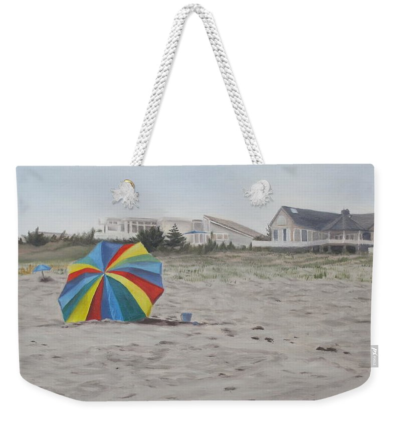 Beach Umbrella Weekender Tote Bag featuring the painting Shore Dreams by Lea Novak