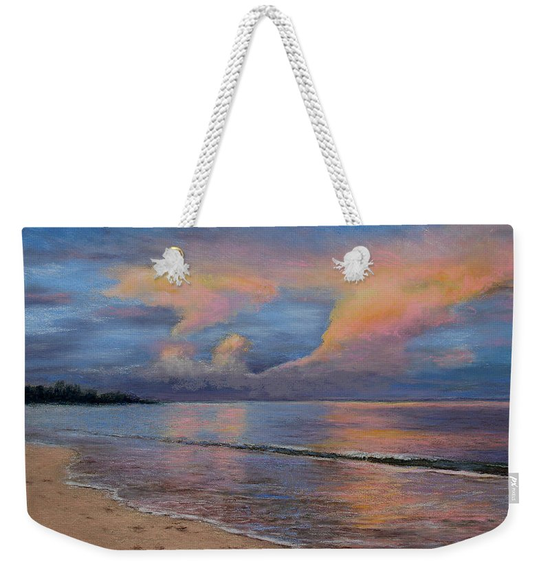 Landscape Weekender Tote Bag featuring the pastel Shore Of Solitude by Susan Jenkins