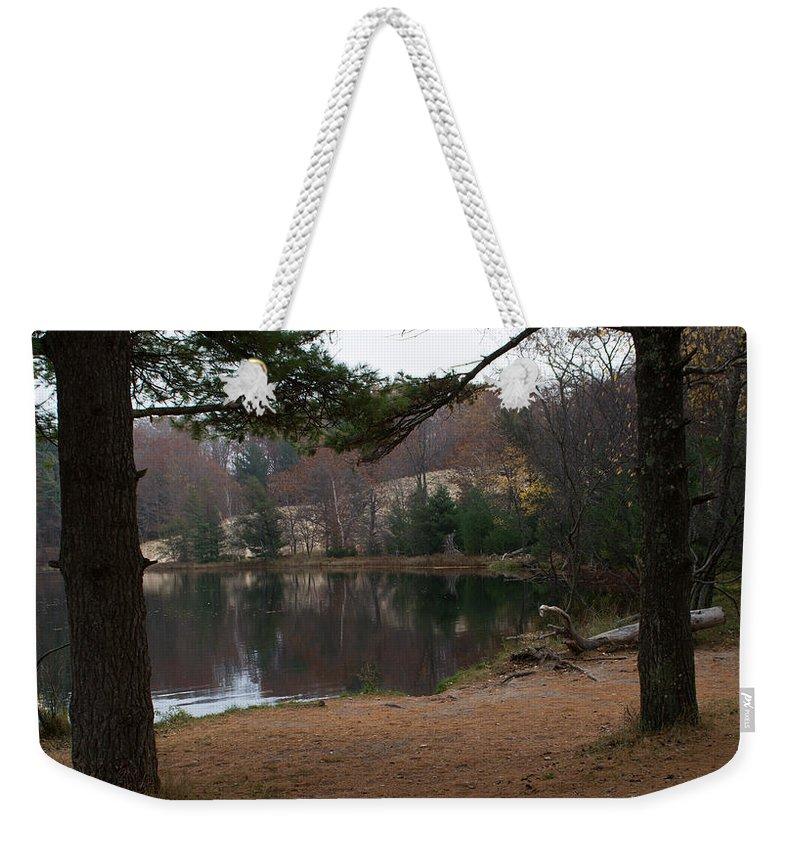 Hamlin Lake Weekender Tote Bag featuring the photograph Shore On Hamlin by Linda Kerkau